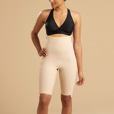 Marena Recovery LGS-SZ Thigh length compression girdle with separating zipper front view in beige