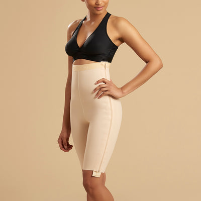 Marena Recovery LGS-SZ Thigh length compression girdle with separating zippers side view in beige