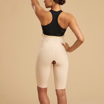 Marena Recovery style LGS thigh length compression girdle, back view in beige