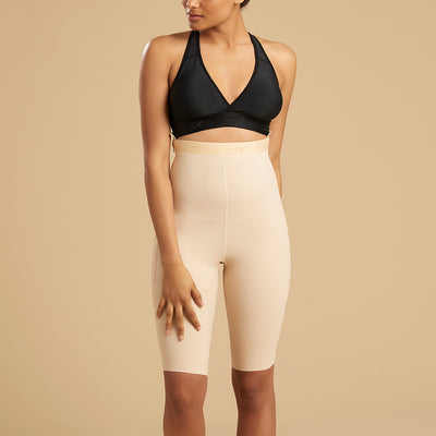 Marena Recovery style LGS thigh length compression girdle, front view in beige