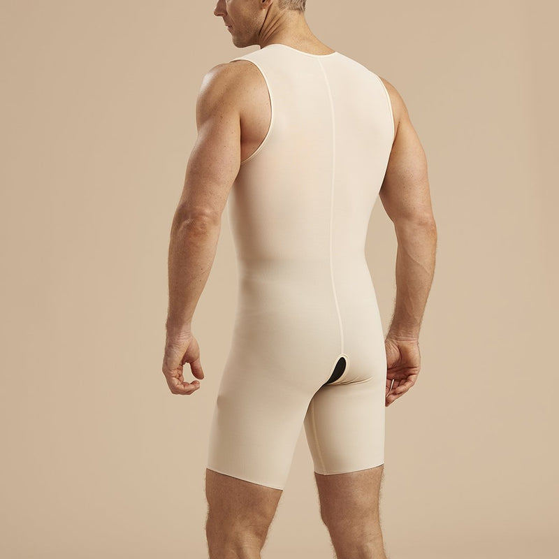 Marena Recovery MB2 Sleeveless compression boysuit zipperless front view in beige