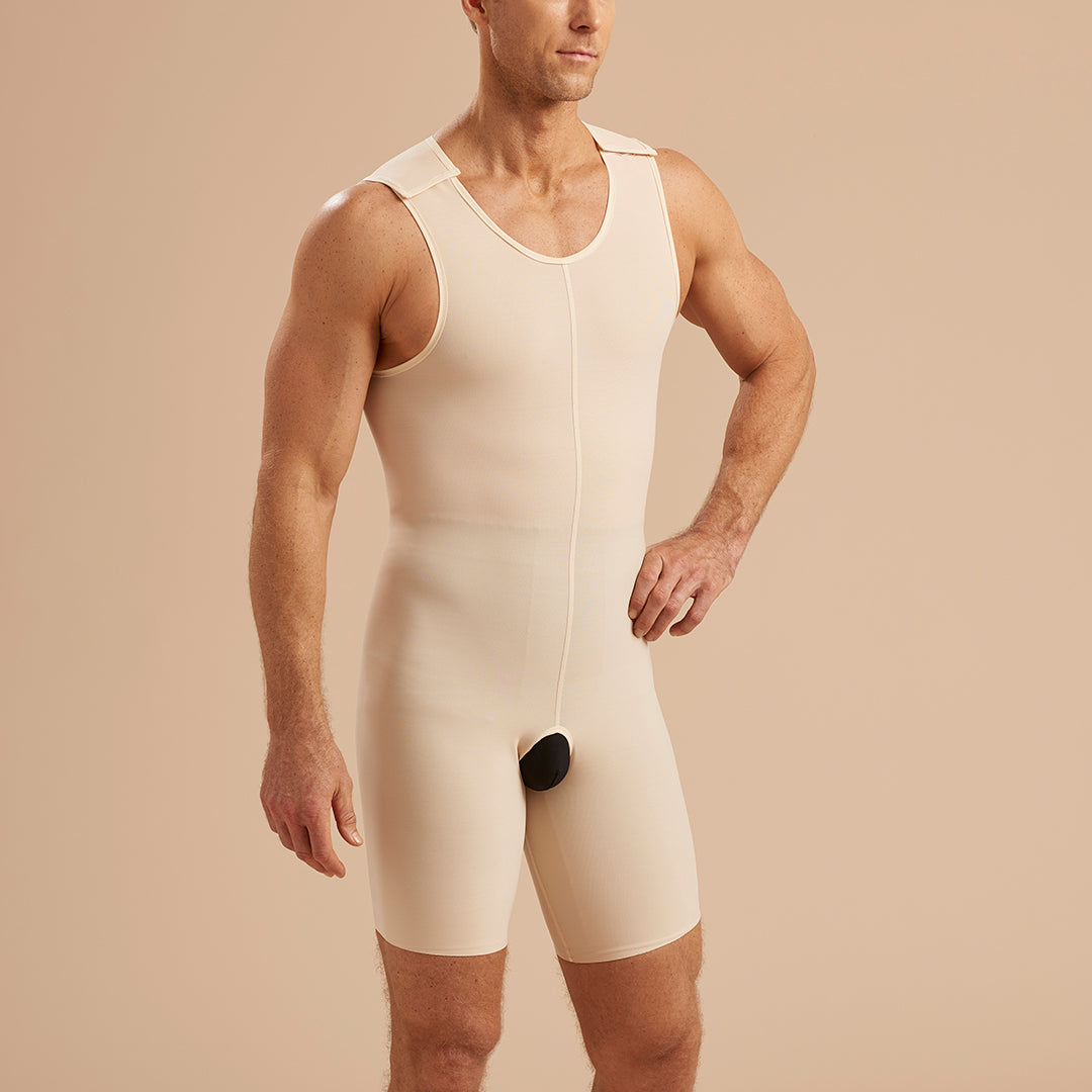 Marena Recovery style MB2 Men's Sleeveless compression zipperless bodysuit, front view in beige