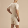 Marena Recovery style MB-SS Short-sleeve compression bodysuit with front zipper, back view in beige