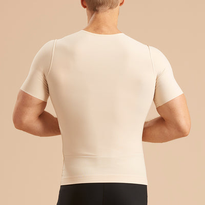 Marena Recovery style MCV-SS Short sleeve compression vest with front zipper, back view in beige