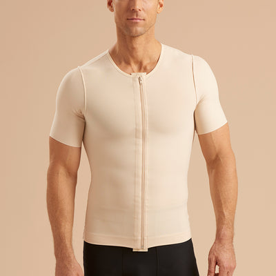 Marena Recovery style MCV-SS Short sleeve compression vest with front zipper, front view in beige