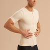 Marena Recovery style MCV-SS Short sleeve compression vest with front zipper, side pose view in beige