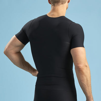 Marena Shape style ME-1000 Short sleeve compression crew neck, front view in black