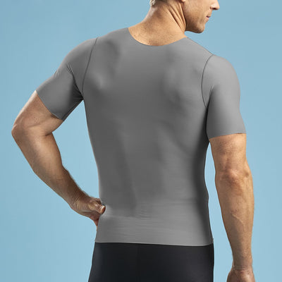 Marena Shape ME-1001 Short sleeve compression v-neck back view in grey