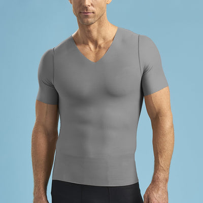 Marena Shape ME-1001 Short sleeve compression v-neck front view in grey