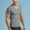 Marena Shape style ME-1001 Short sleeve compression v-neck , side view in grey