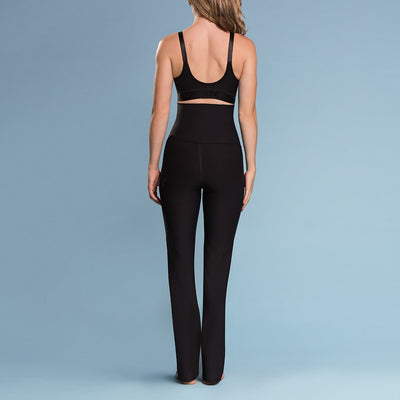 Marena Shape style ME-210 High-waist compression yoga pants, back view in black