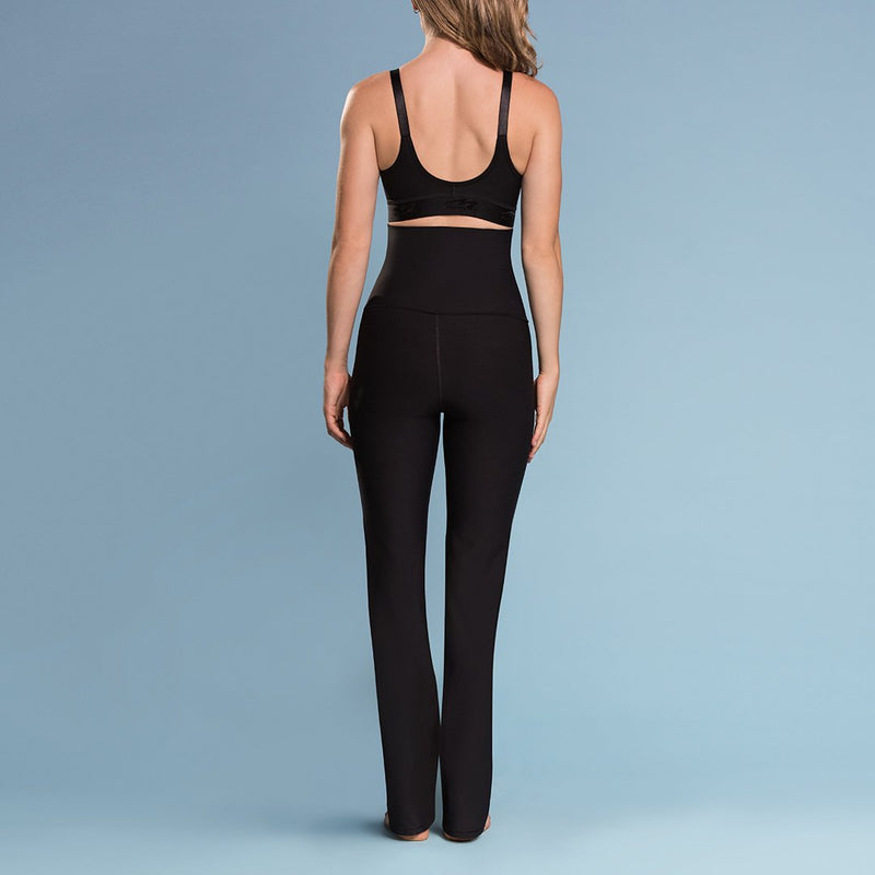 Marena Shape style ME-210 High-waist compression yoga pants, front view in black