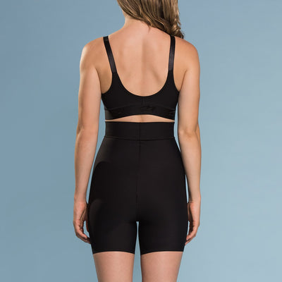 Marena Shape style ME-321 High-waist compression mini shorts back view, in black