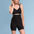 Marena Shape style ME-321 High-waist compression mini shorts front view, in black