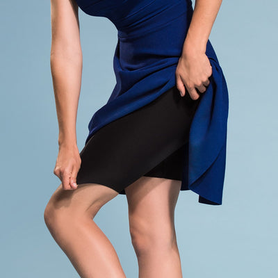 Marena Shape style ME-421 High-waist compression shorts side view, in black shown under royal blue dress