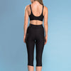 Marena Shape style ME-501 High-waist compression capri length shorts back view, in black