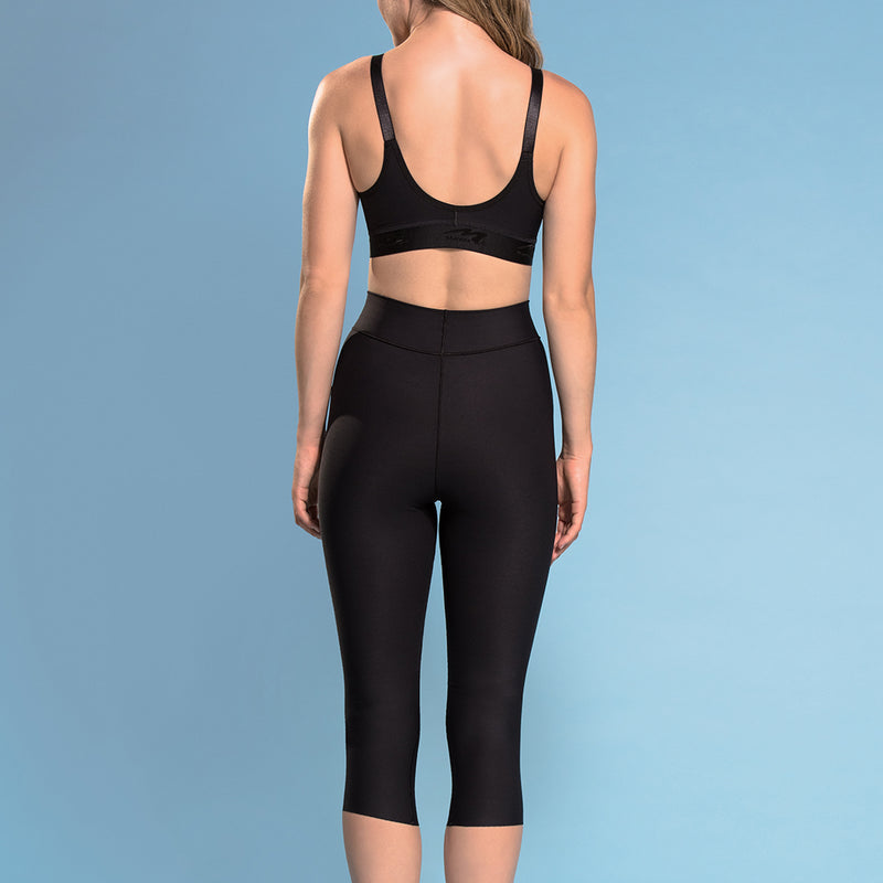 Marena  Shape style ME-501 High-waist compression capri length  shorts front view, in black