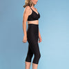 Marena Shape style ME-501 High-waist compression capri length shorts side view, in black