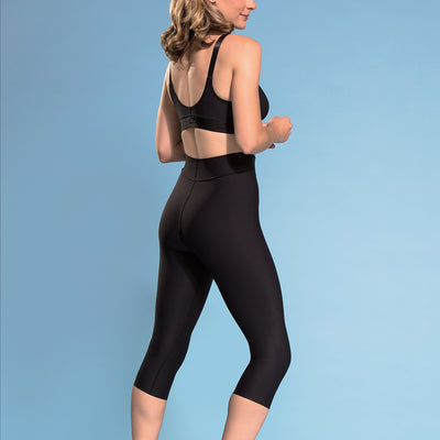 Marena  Shape ME-501 High-waist compression shorts back side view, in black