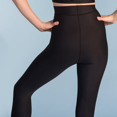 Marena Shape style ME-521 High-waist compression capris close up back view, in black