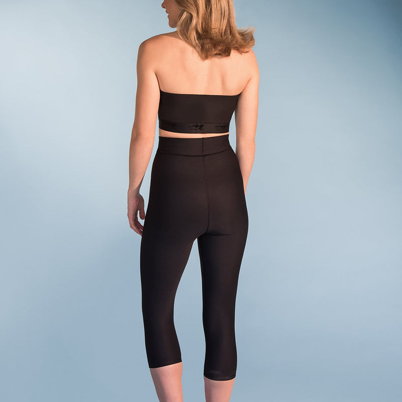 Marena Shape style ME-521 High-waist compression capris front view, in black
