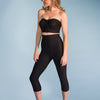 Marena Shape style ME-521 High-waist compression capris side view, in black