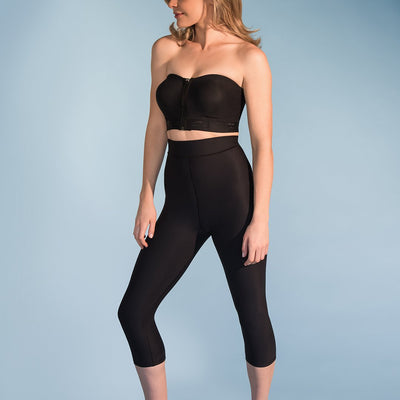 Marena Shape ME-521 High-waist compression capris front side view, in black