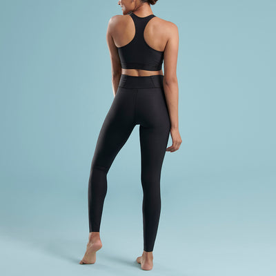 Marena Shape style ME-611 high waisted compression Travel legging, back view in black