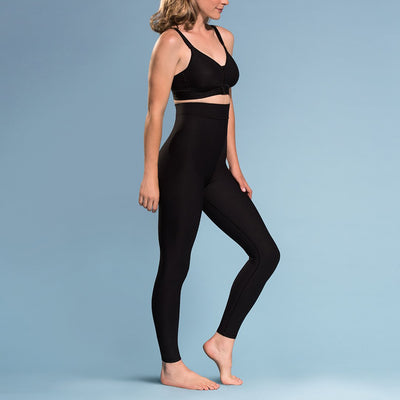 Marena Shape style ME-621 High-waist compression legging side pose view, in black