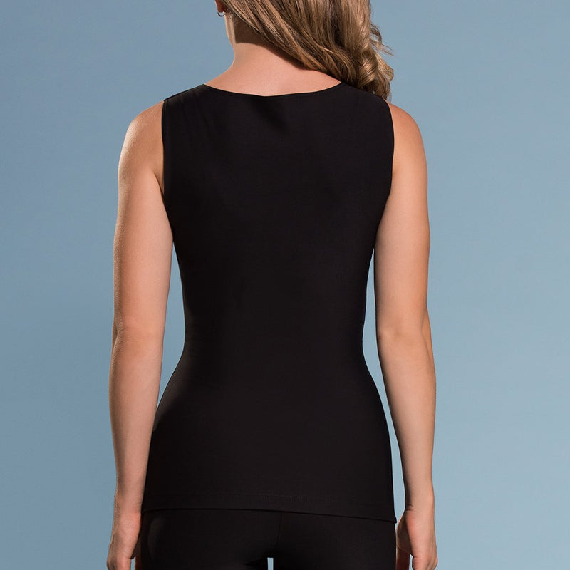 Marena Shape ME-802 Easy-on compression tank top  close-up front view, in black