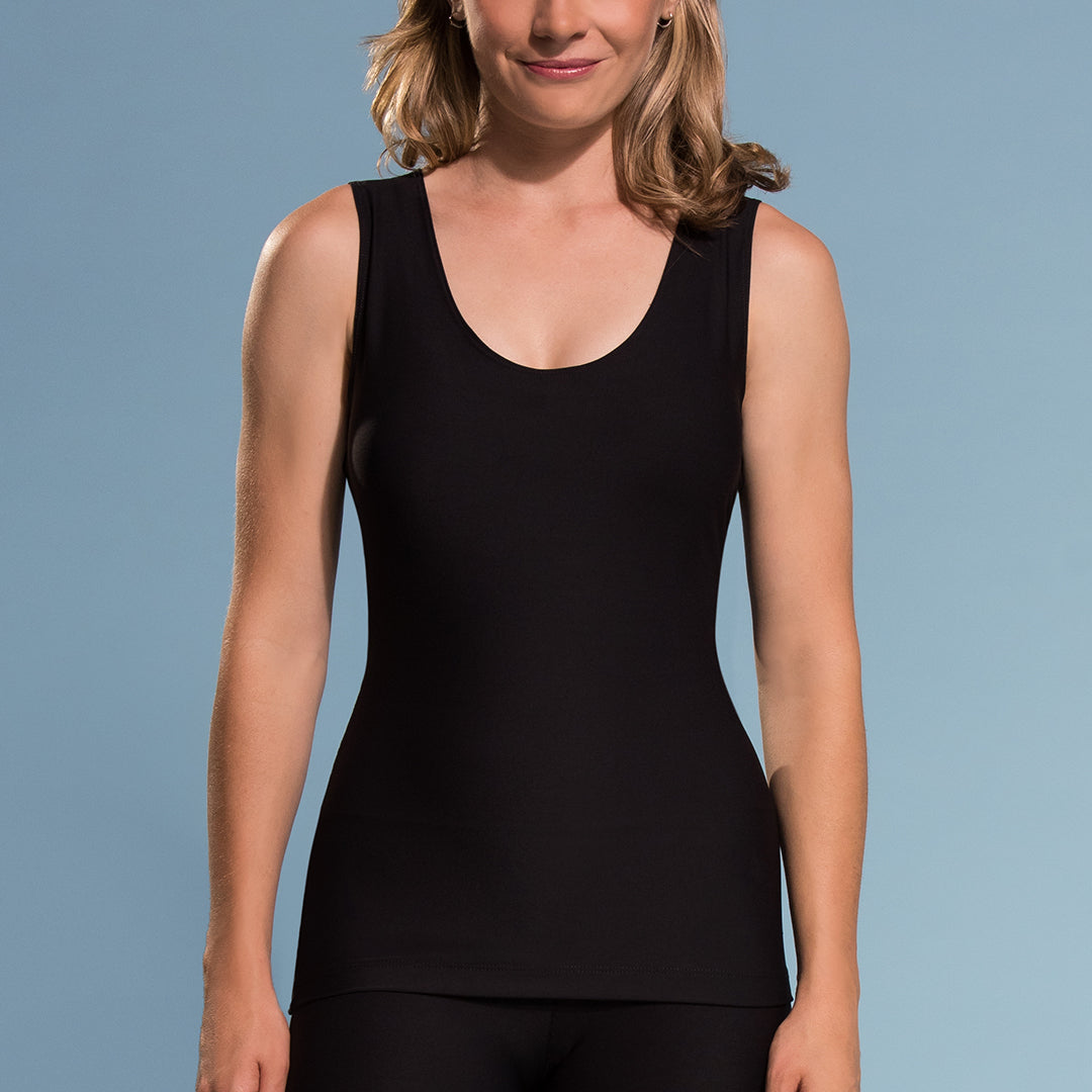 Marena Shape style ME-802 Easy-on compression tank top  close-up front view, in black