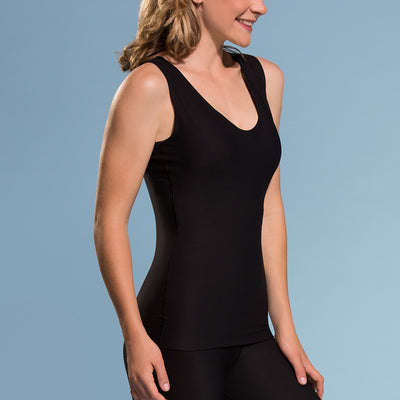 Marena Shape style ME-802 Easy-on compression tank top close-up side view, in black