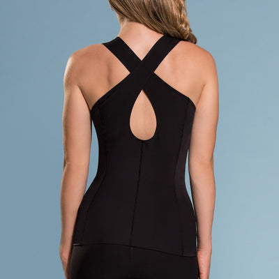 Marena Shape style ME-803 Easy-on compression Key hole v-neck cami back view, in black