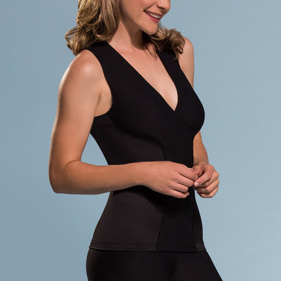 Marena Shape style ME-803 Easy-on compression Key hole v-neck cami side view, in black