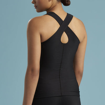 Marena Shape style ME-805 Easy-On Pocket compression cami with key-hole back, back view in black