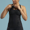Marena Shape style ME-805 Easy-On Pocket compression cami with key-hole back, front view in black shown with model inserting pads