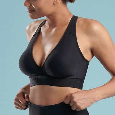 Marena Shape style ME-813 Plunge Comfort Bra side close-up view, in black
