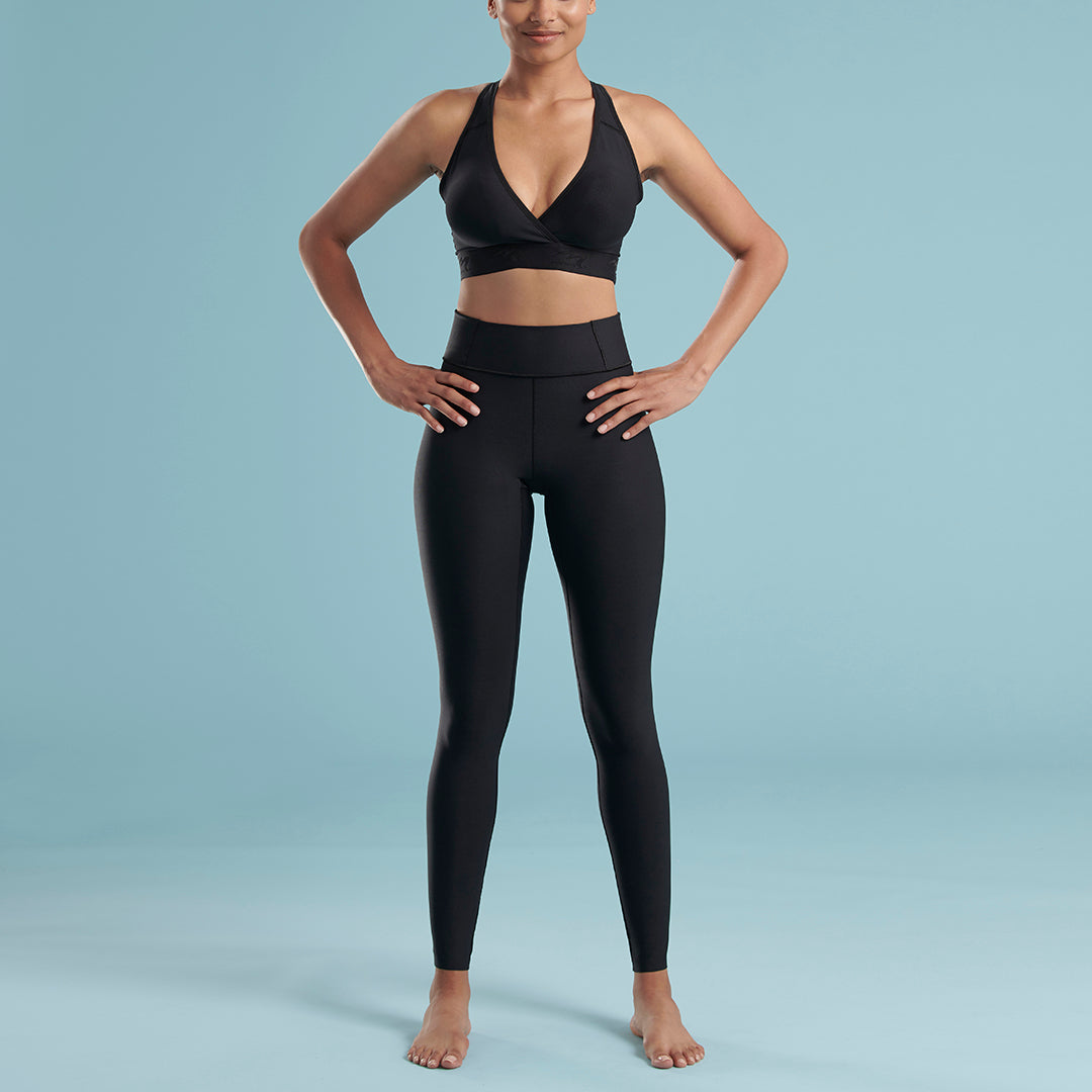 Marena Shape style ME-611 high waisted compression Travel  legging, front view in black