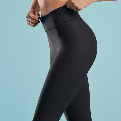 Marena Shape style ME-611 high waisted compression Travel legging, side waistband detail view in black