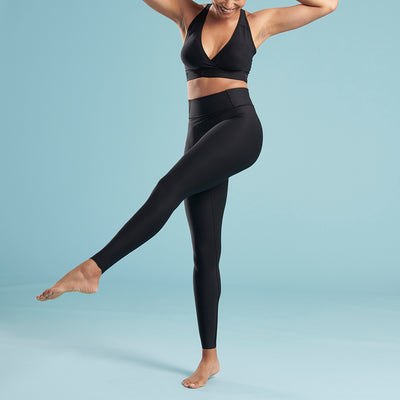 Marena Shape style ME-611 high waisted compression Travel legging, front pose view in black