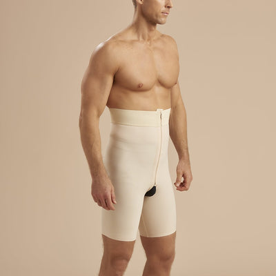 Marena Recovery style MGS Men's Thigh length compression girdle, side view in beige