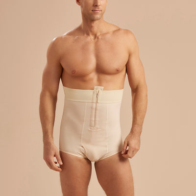Marena Recovery style MG Men's Brief length compression girdle, front view in beige