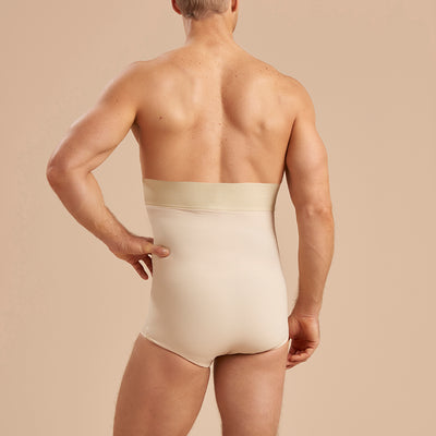 Marena Recovery MG Brief length girdle back view in beige