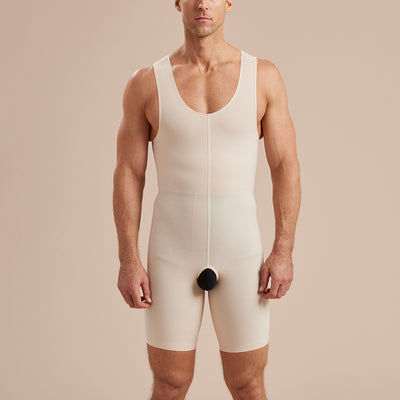 Marena Recovery style MHB2 men sleeveless zipperless bodysuit, front pose view in beige
