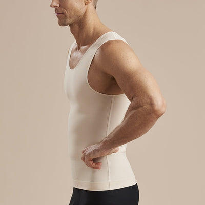 Marena Recovery MHTT Sleveless Compression Tank top side view in beige