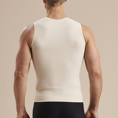 Marena Recovery MHV Sleeveless Compression front zipper back pose view in beige
