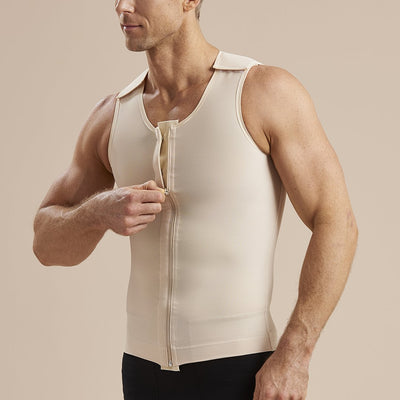 Marena Recovery MHV Sleeveless Compression front zipper front pose using zipper view in beige