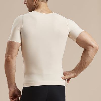 Marena Recovery style MHV-SS Short sleeve Compression vest with front zipper, back view in beige
