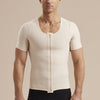Marena Recovery style MHV-SS Short sleeve Compression vest with front zipper, front view in beige