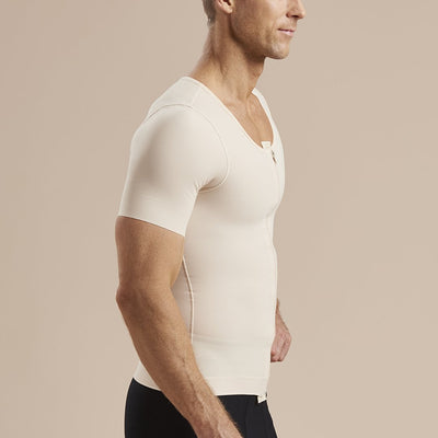 Marena Recovery style MHV-SS Short sleeve Compression vest with front zipper, side view in beige